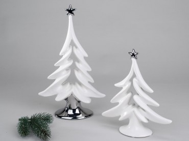 formano deko baum weihnachtsbaum wei silber steingut 704924 704917 ebay. Black Bedroom Furniture Sets. Home Design Ideas