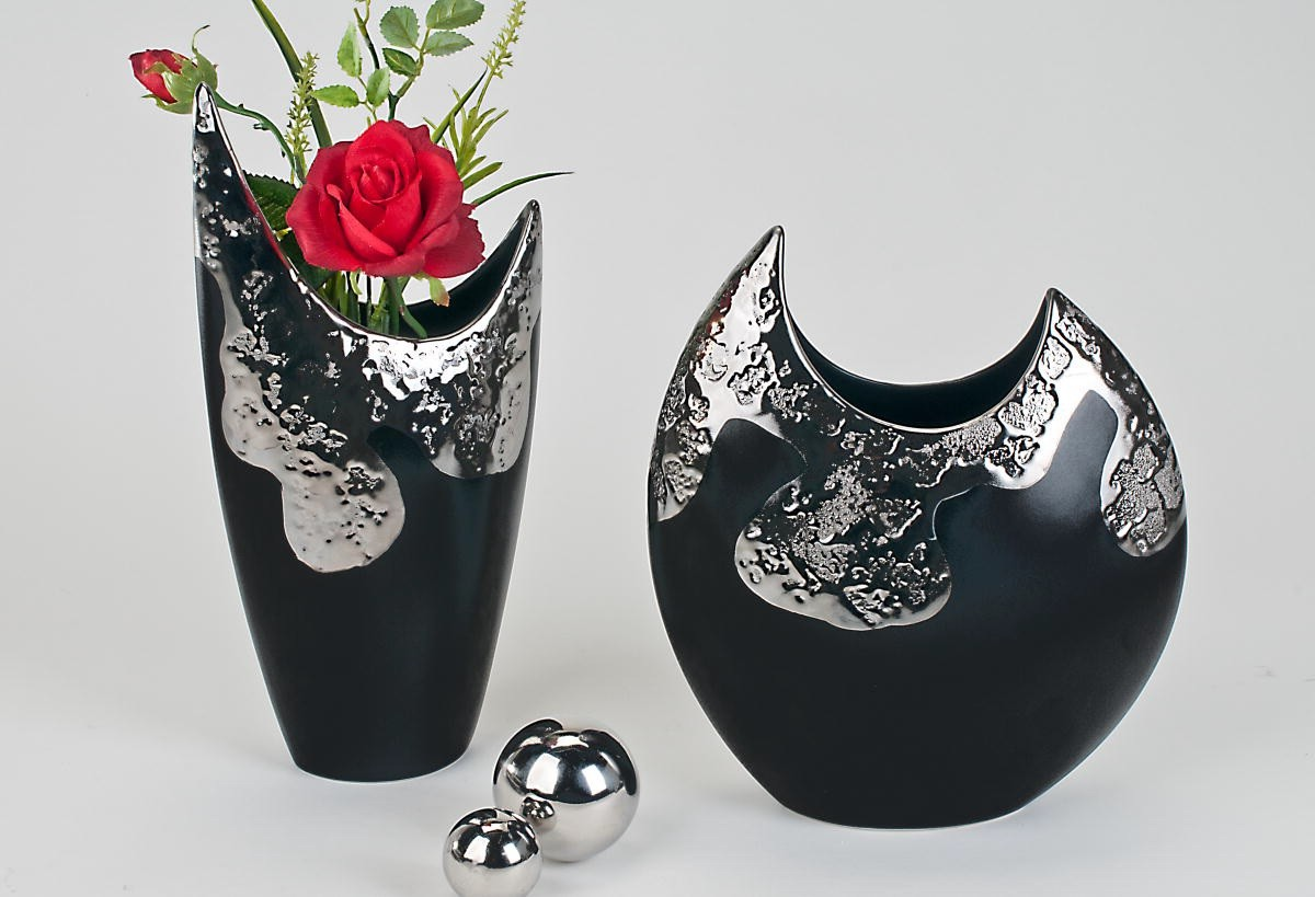formano vase blumenvase deko vase deko amalia schwarz silber 739544 739551 ebay. Black Bedroom Furniture Sets. Home Design Ideas
